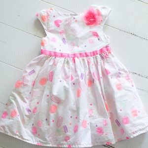 Cherokee Sweets Pink Flower White Dress